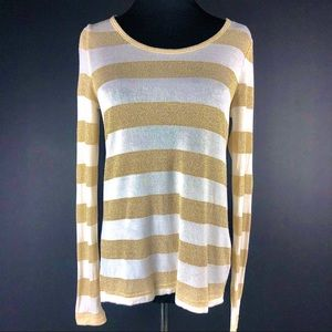 Vince Camuto Metallic Gold & Ivory Sweater Size S